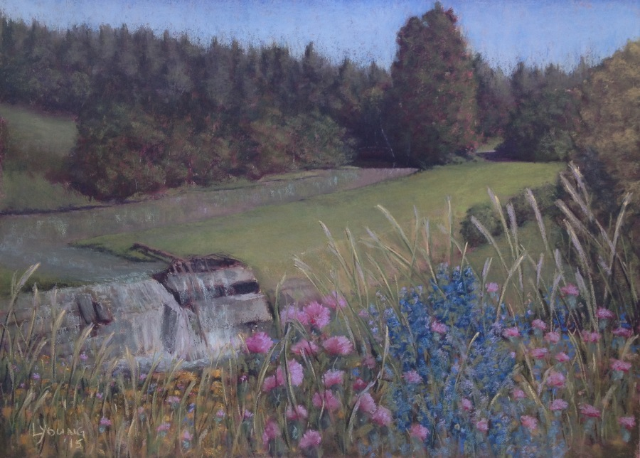 """Beware the Thistles"" 29"" x 21"" , Lorraine Young, 2015 soft pastels on Mi-Teintes Touch $600 unframed"