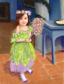 """It's All About the Dress"" Lorraine Young, pastels on sanded pastel paper, 9"" x 12"" NFS"