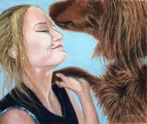 "Rayne and Izzie_ soft pastels on Canson paper_8""x10""_Lorraine Young 2015"