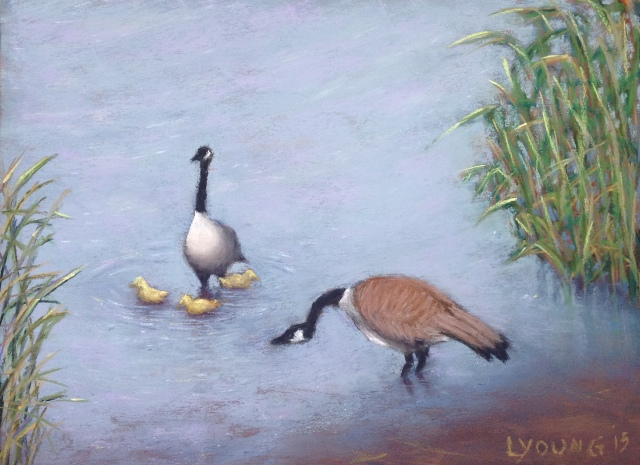 "he Swimming Lesson_soft pastels on Pastel Premier paper, 8 1/2"" x 11 1/2""_ Lorraine Young_$140 unframed"