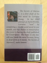 The Secrets of Marian C., Lorraine Young, Back Cover