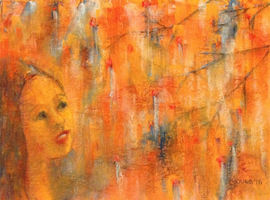 """""""Startled by Orange"""" soft pastels, mixed media, on sanded pastel paper 10"""" x 8"""" (c) Lorraine Young $150 unframed"""