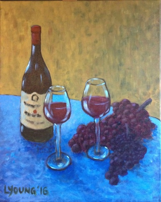 """Wine and Grapes"" (c) Lorraine Young acrylics on canvas"