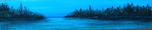 """Alberta Lake"" (c) Lorraine Young acrylics on tile"
