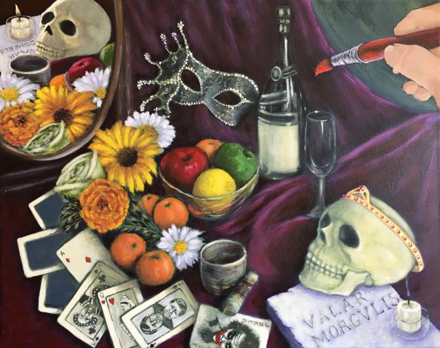 """Still Life With Skulls"" (c) Lorraine Young 2017 acrylics on canvas"
