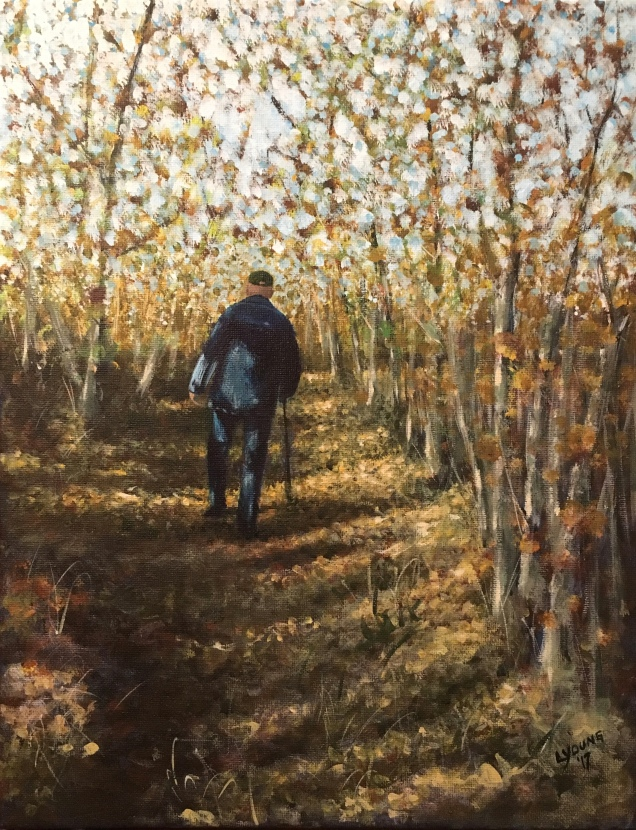 """His Path"" (Robin Young) by Lorraine Young December 30, 2017 Acrylics on canvas, 11"" x 14"""